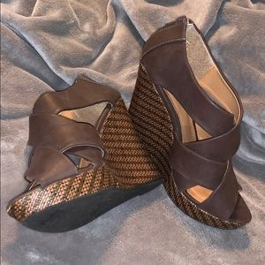 Brown high heel wedges Size 10